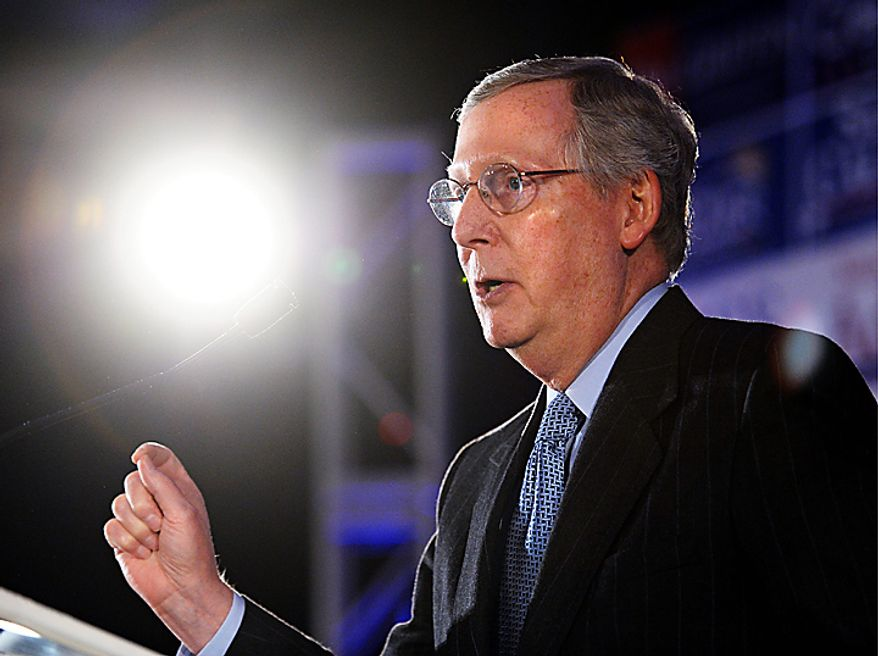 Senate Minorty Leader Mitch McConnell of Ky. addresses an election night gathering hosted by the National Republican Congressional Committee,  in Washington Washington, Tuesday, Nov. 2, 2010. (AP Photo/Cliff Owen)