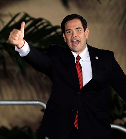 Sen.-elect Marco Rubio, R-Fla. thanks supporters in Coral Gables, Fla. after winning his senate bid Tuesday, Nov. 2, 2010. (AP Photo/Alan Diaz)