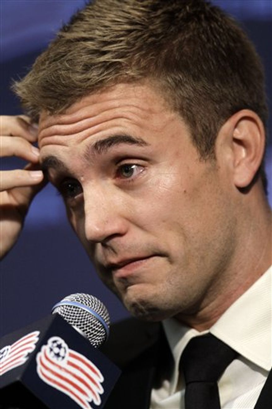New England Revolution soccer player Taylor Twellman is emotional as he faces reporters during a news conference announcing his retirement from professional soccer,  Wednesday, Nov. 3, 2010, in Foxborough, Mass. The Revolution star says he's retiring because of the effects of a concussion. (AP Photo/Steven Senne)
