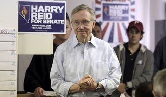 ASSOCIATED PRESS Senate Majority Leader Harry Reid of Nev. pauses while talking to campaign workers at his campaign headquarters in Las Vegas, Tuesday, Nov. 2, 2010.