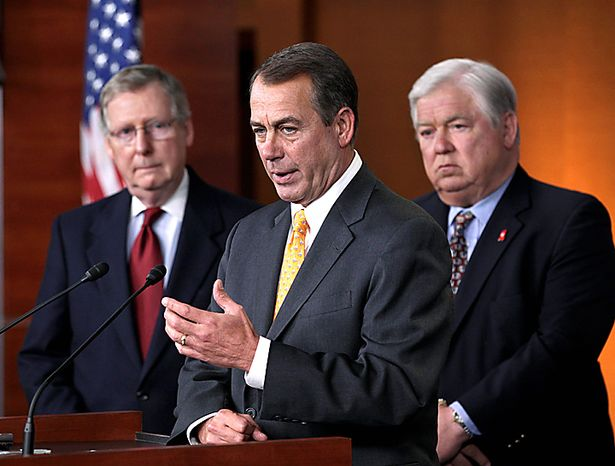 House Republican leader John Boehner of Ohio, center, accompanied by Mississippi Gov. Haley Barbour, chairman of the Republican Governors Association, right, and  Senate Minority Leader Mitch McConnell of Ky. takes questions on the sweeping GOP victory in the 2010 midterm elections, during a news conference on Capitol Hill in Washington, Wednesday, Nov. 3, 2010. (AP Photo/J. Scott Applewhite)