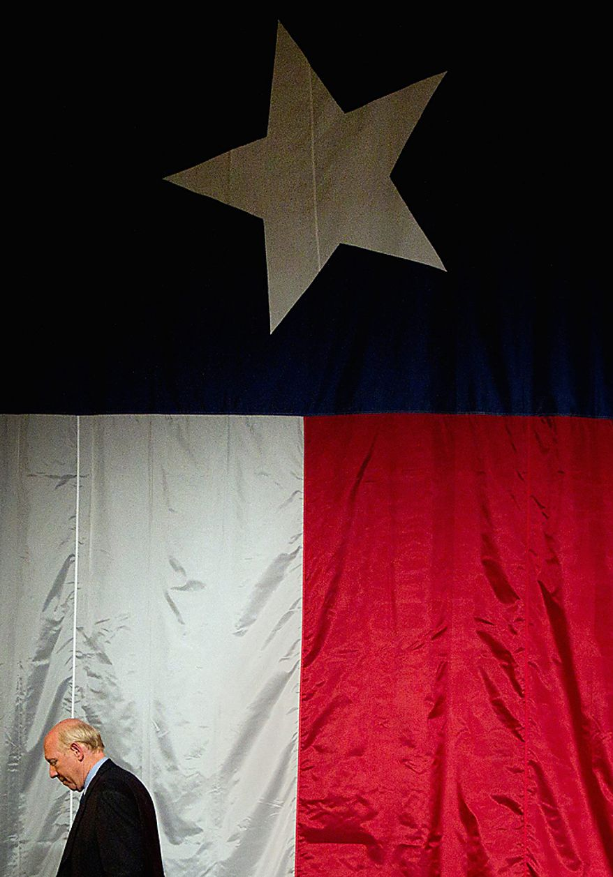 Democrat Bill White walks off the stage after addressing his election night party, Tuesday, Nov. 2, 2010, at the Hilton Americas Hotel  in Houston. The former Houston mayor conceded defeat to incumbent Republican Gov. Rick Perry in the race. (AP Photo/Houston Chronicle, Smiley N. Pool)