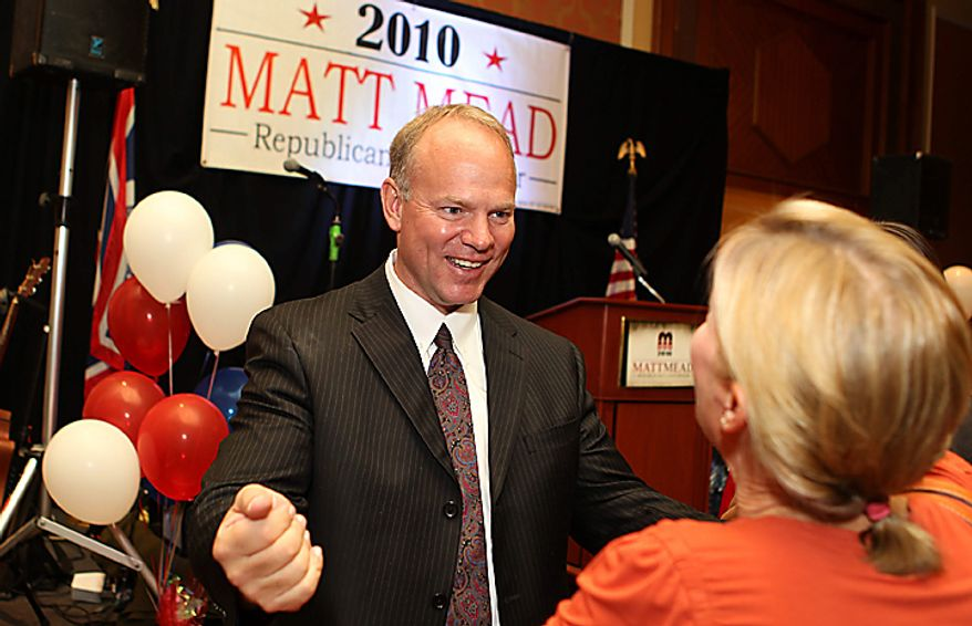 Matt Mead greets a well wisher after it was announced he won his bid over Democratic candidate Leslie Peterson on Tuesday, Nov. 2,  2010 in Cheyenne, Wy.  (AP Photo/The Wyoming Tribune Eagle, Michael Smith)
