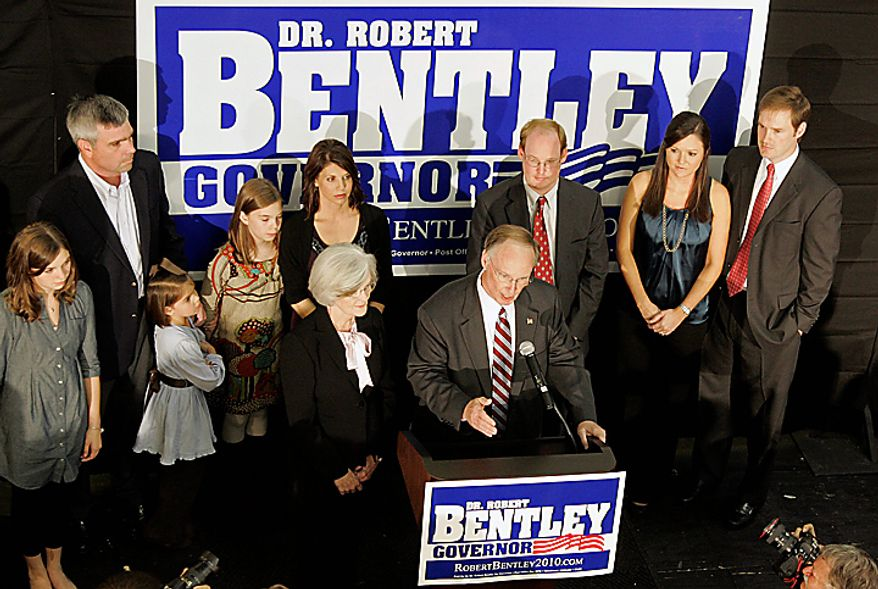 Alabama governor-elect Dr. Robert Bentley talks to supporters in Tuscaloosa, Ala., Tuesday, Nov. 2, 2010.  Bentley defeated Democratic challenger Ron Sparks in the election. (AP Photo/Dave Martin)