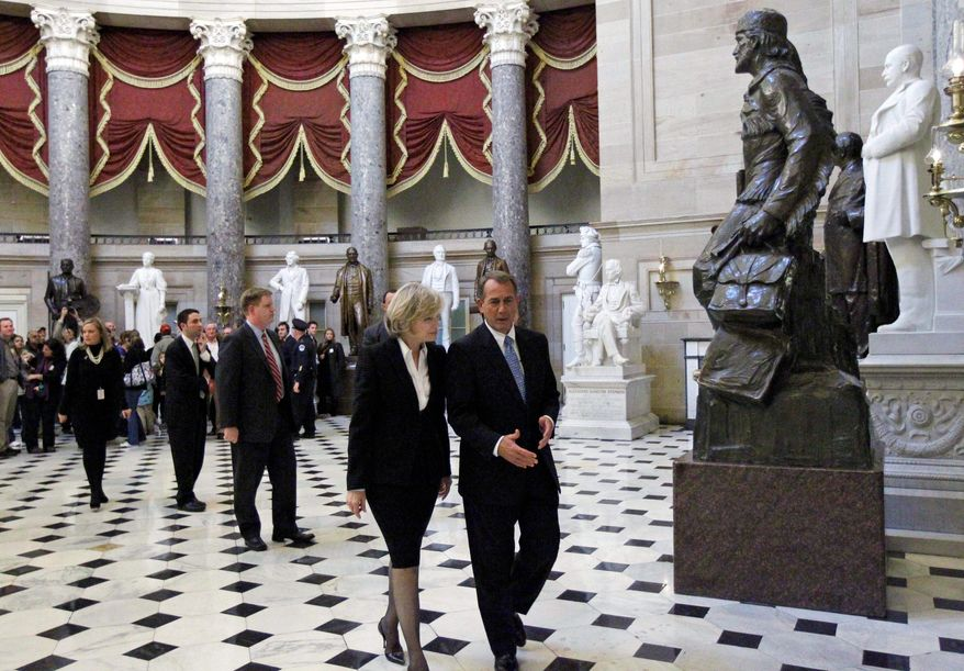 Rep. John A. Boehner of Ohio chats with ABC anchor Diane Sawyer in Statuary Hall on Capitol Hill on Thursday. Mr. Boehner is unlikely to be challenged for the position of House speaker. (Associated Press)