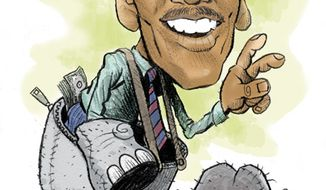 Illustration: Michael Steele by Alexander Hunter for The Washington Times