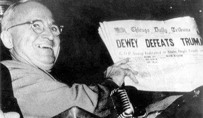 The Chicago Tribune was certain Thomas E. Dewey had beaten incumbent Harry Truman in the 1948 presidential election. (Photo: Associated Press)