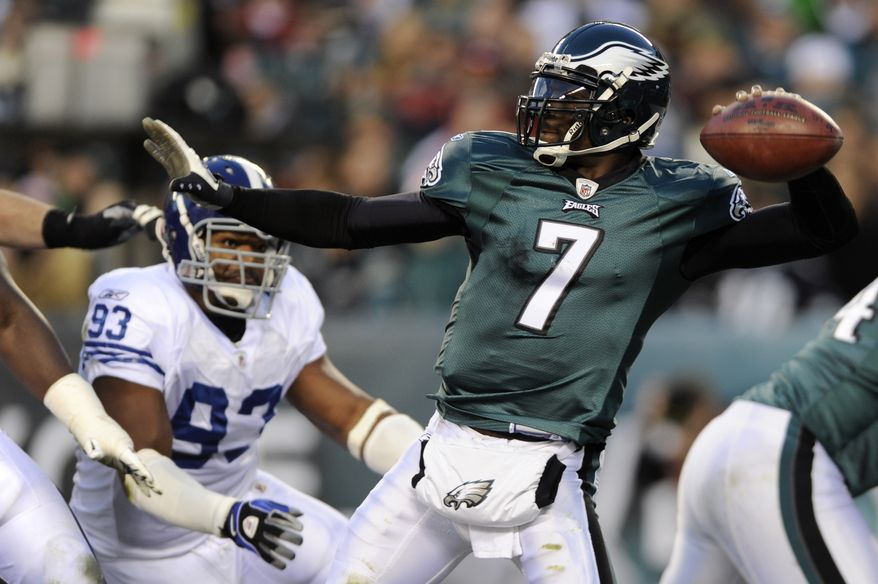 Philadelphia Eagles quarterback Michael Vick passes in the first half of an NFL football game against the Indianapolis Colts on Nov. 7 in Philadelphia. (Associated Press)