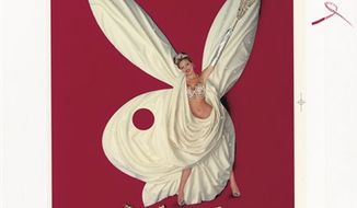 """This picture provided by Christie's shows a  1970 oil painting by Herb Davidson of Hugh Hefner.  It is one of 125 items of original art from the Playboy Enterprises archive up for sale at a Dec. 8 auction at Christie's in New York dubbed """"The Year of the Rabbit."""" Nearly all the items in the sale have appeared in Playboy magazine, a cultural icon that helped liberate American sexual mores.(AP Photo/CHRISTIE'S IMAGES LTD.)"""