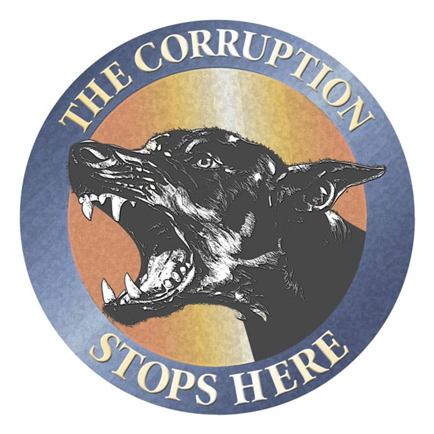 Illustration: The corruption stops here by Greg Groesch for The Washington Times