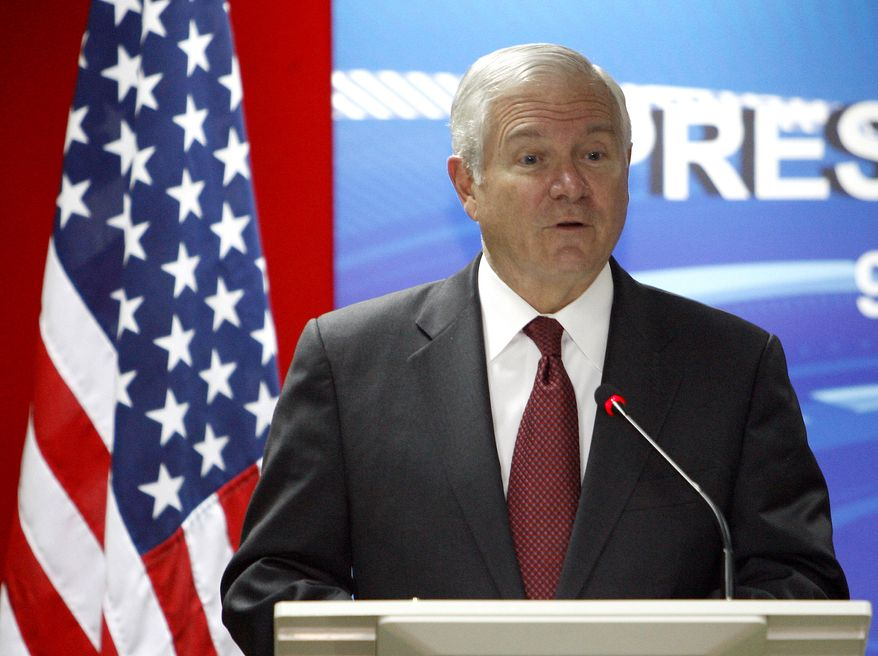 Defense Secretary Robert Gates speaks during a joint press conference at Malaysia's Ministry of Defense in Kuala Lumpur, Malaysia, on Tuesday, Nov. 9, 2010. (AP Photo/Lai Seng Sin)