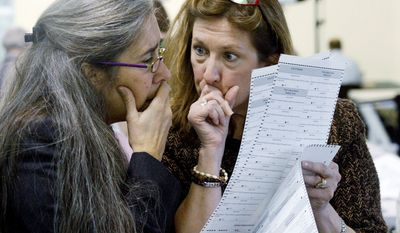Alaska Elections Division Director Gail Fenumiai (right) and state Assistant Attorney General Sarah Felix examine a ballot Wednesday in Juneau. Republican nominee Joe Miller sued Tuesday to prevent the state from using discretion in determining voter intent on write-in ballots. (Associated Press)