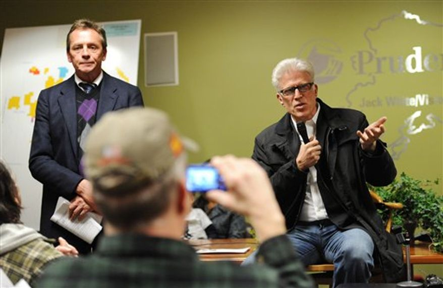 Actor Ted Danson, right, testifies at a public hearing regarding offshore drilling in Alaska's Chukchi Sea Tuesday, Nov. 9, 2010 in Anchorage, Alaska.  At left is the hearing's moderator Jeffery Loman, deputy director of the Bureau of Ocean Energy Management, Regulation and Enforcement.  (AP Photo / Michael Dinneen)