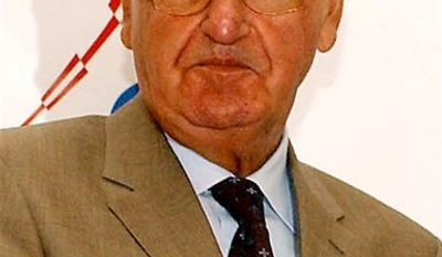 FILE - This is a Thursday, July 21, 2005 file photo of  Vlatko Markovic, head of the Croatian Soccer Federation in  Budapest, Hungary.  The head of Croatian Soccer Federation apologized on Wednesday Nov. 10, 2010,  for anti-gay remarks he made in an interview, in which he said that he would not allow a gay player on the national team. Vlatko Markovic's remarks sparked protests in Croatia, with two gay groups planning to complain to UEFA.. (AP Photo/MTI, Peter Kollanyi, File)