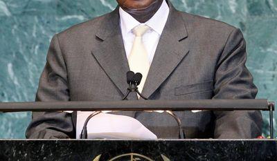 Ugandan President Yoweri Kaguta Museveni addresses the U.N. General Assembly Sept. 24. He wants peacekeeping in Somalia to become peace enforcement. (Associated Press)