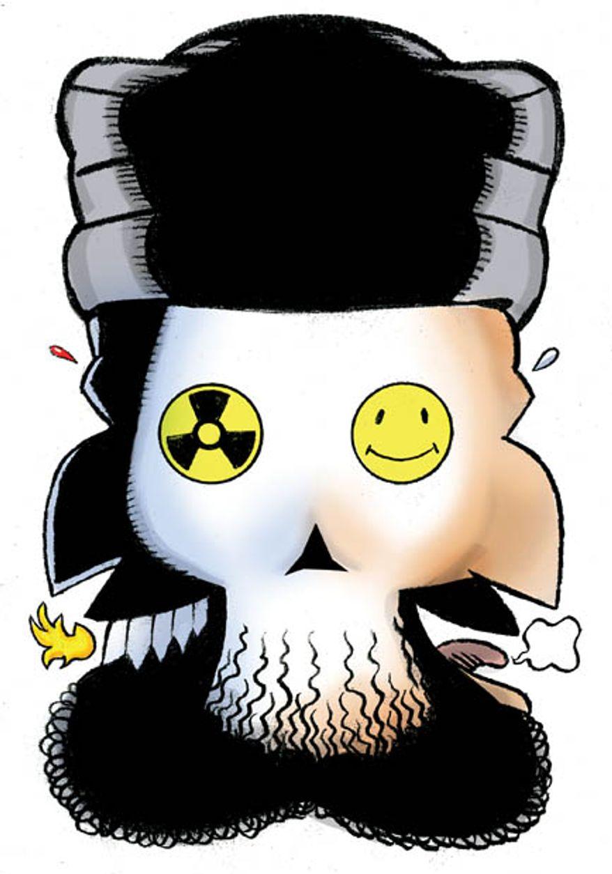 Illustration: Iranian trinity by Alexander Hunter for The Washington Times