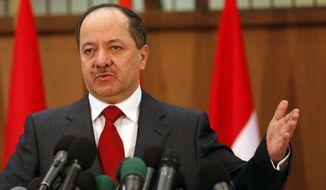 President of the Kurdistan Regional Government Massoud Barzani (Associated Press) **FILE**