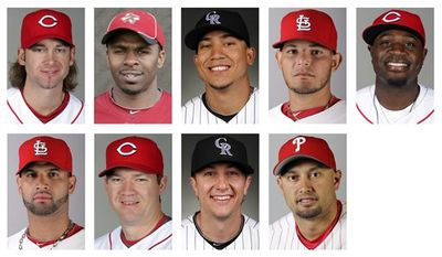 FILE - In this combo of 2010 file photos, the 2010 National League Gold Glove winners are shown. They are, top row from left, Cincinnati Reds pitcher Bronson Arroyo, Houston Astros outfielder Michael Bourn, Colorado Rockies outfielder Carlos Gonzalez, St. Louis Cardinals catcher Yadier Molina, and Reds second baseman Brandon Phillips; bottom row from left, Cardinals first baseman Albert Pujols, Reds third baseman Scott Rolen, Rockies shortstop Troy Tulowitzki, and Philadelphia Phillies outfielder Shane Victorino. (AP Photo/File)