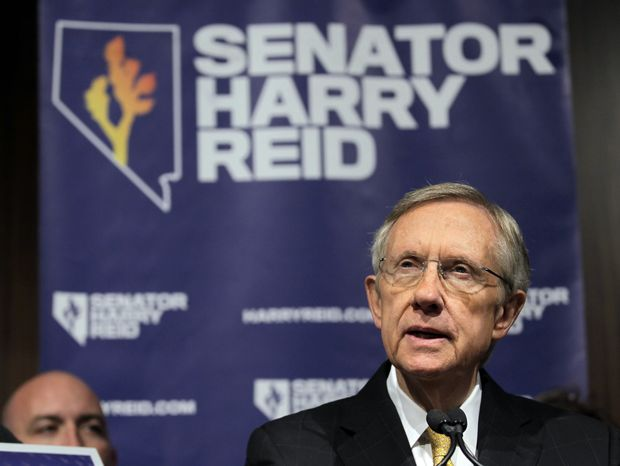 Senate majority leader Harry Reid, Nevada Democrat, answers questions at a Nov. 3 news conference in Las Vegas. (Associated Press)