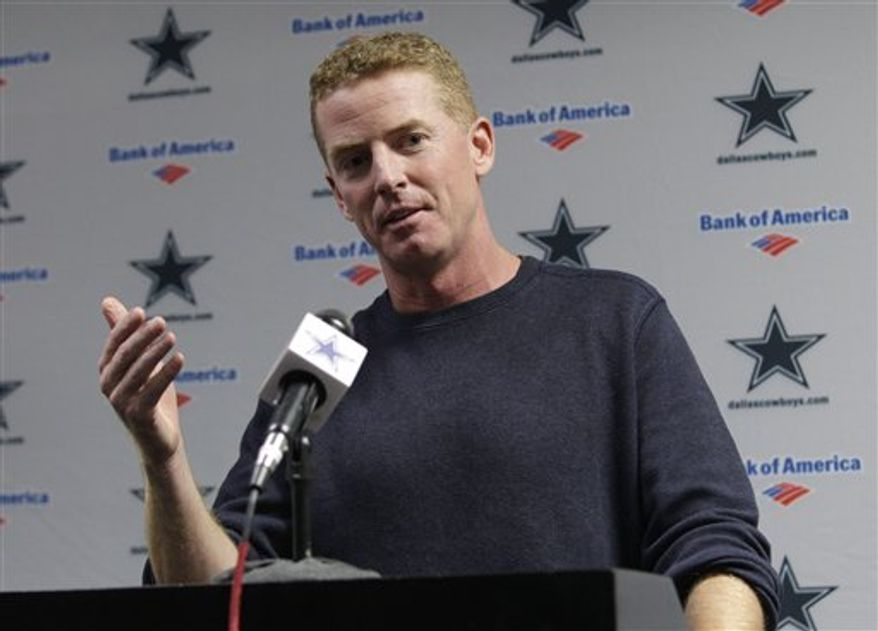 Jason Garrett, who was named interim coach of the Dallas Cowboys, responds to questions during a news conference at the NFL football team's training facility, Monday, Nov. 8, 2010, in Irving, Texas. Coach Wade Phillips was fired earlier Monday. (AP Photo/Tony Gutierrez)