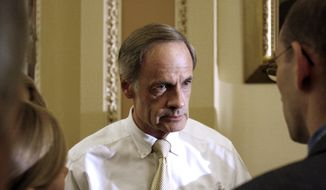 **FILE** Sen. Tom Carper, Delaware Democrat, talks Sept. 30, 2009, to reporters on Capitol Hill in Washington. (Associated Press)