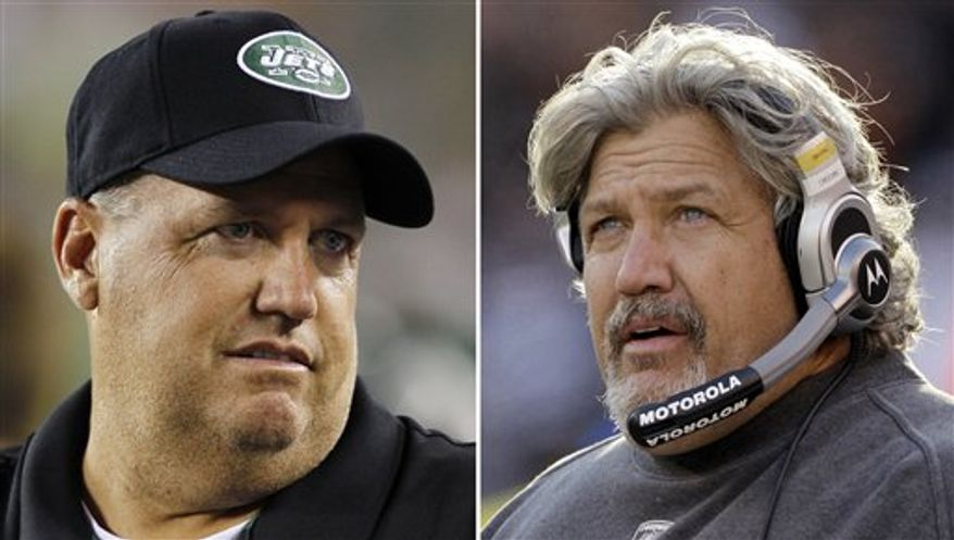 FILE - These are 2010, file photos showing New York Jets head coach Rex Ryan, left, and Cleveland Browns defensive coordinator Rob Ryan, right. The Ryan boys followed their dad into the NFL. This week they'll renew their sibling rivalry when Rex brings his Jets to Cleveland to face a Browns defense coached by his brother. (AP Photo/File)