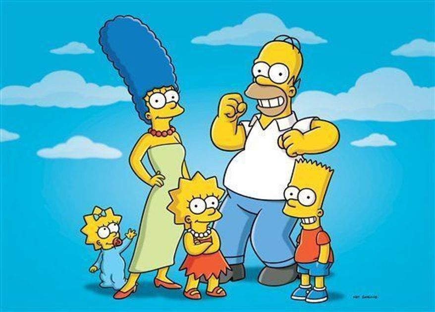 """** FILE ** In this undated publicity photo released by Fox, characters from the animated series, """"The Simpsons,"""" from left, Maggie, Marge, Lisa, Homer and Bart, are shown. (AP Photo/Fox)"""