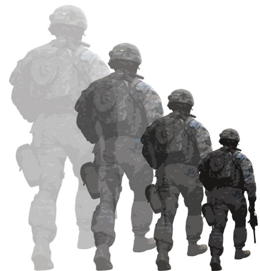 Illustration: Smaller military by Greg Groesch for The Washington Times