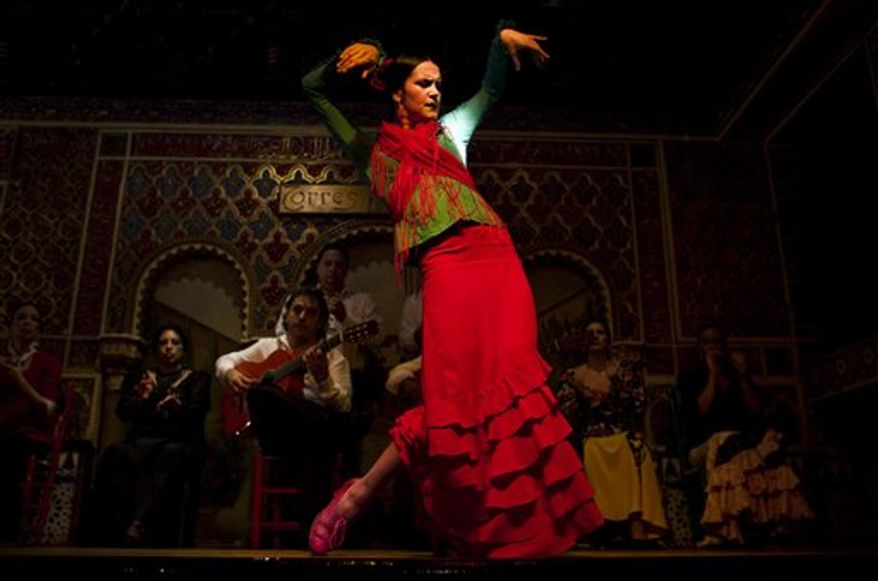 In this photo taken on Monday, Nov. 15, 2010, flamenco dancer Carlos Velazquez performs in the renowned Torres Bermejas Tablao Restaurant in Madrid.  Spain's flamenco dance is among 51 proposals to be considered for inclusion on two UNESCO intangible cultural heritage lists. The Paris-based U.N. organization said that Tuesday Nov. 16 meeting in Nairobi, Kenya, will determine which of the proposals make the final cut. Thirty-one countries on four continents fielded proposals. (AP Photo/Victor R. Caivano)