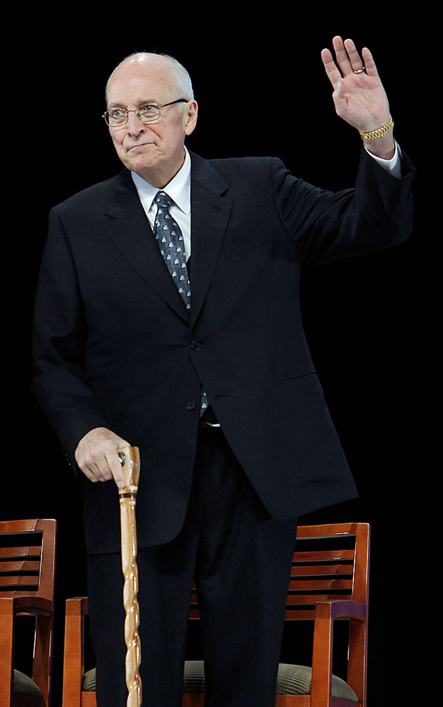 Former Vice President Dick Cheney waves during the groundbreaking ceremony for the President George W. Bush Presidential Center in Dallas, Tuesday, Nov. 16, 2010. (AP Photo/LM Otero)