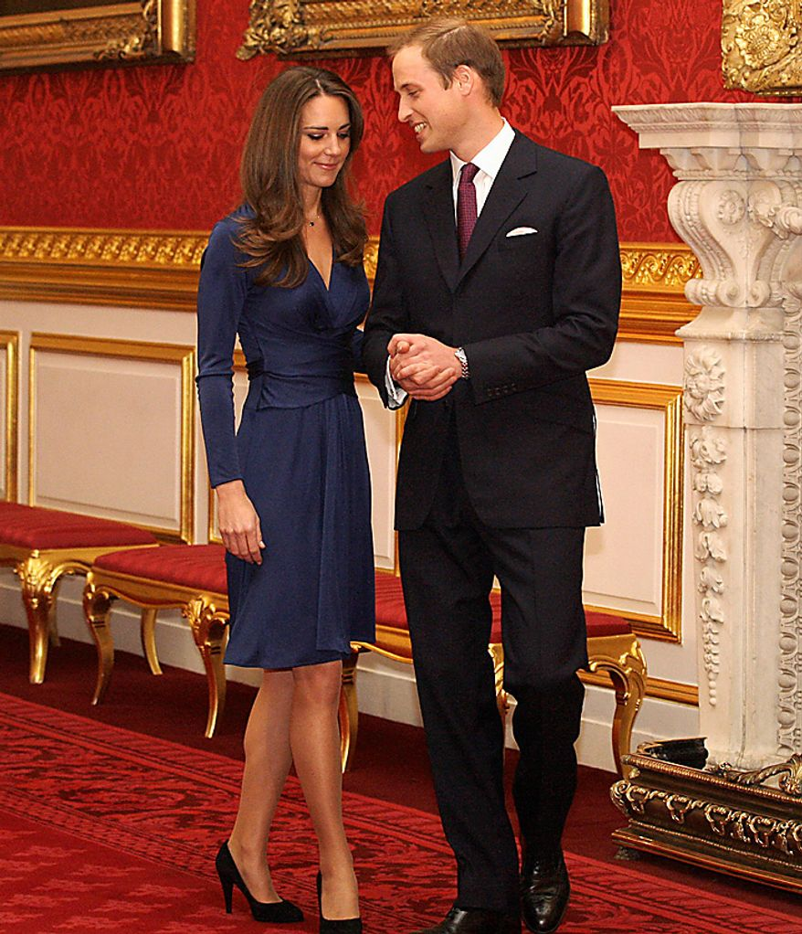 Britain's Prince William and his fiancee Kate Middleton arrive for a media photocall, media at St. James's Palace in London, Tuesday Nov. 16, 2010, after they announced their engagement. The couple are to wed in 2011. (AP Photo/Sang Tan)