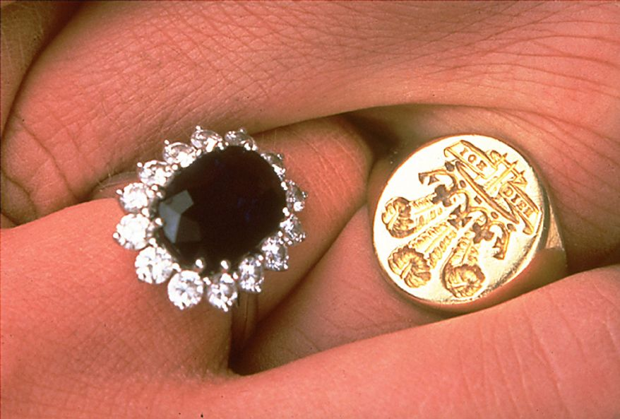 This is a  1981 file photo of the engagement rings of Britain's Prince Charles and his fiance Lady Diana Spencer. It was announced Tuesday Nov. 16, 2010 that their son Prince Williams is to marry his girlfriend Kate Middleton next year and that the Prince William has given Kate his mother's engagement ring. (AP Photo, Pool, File)