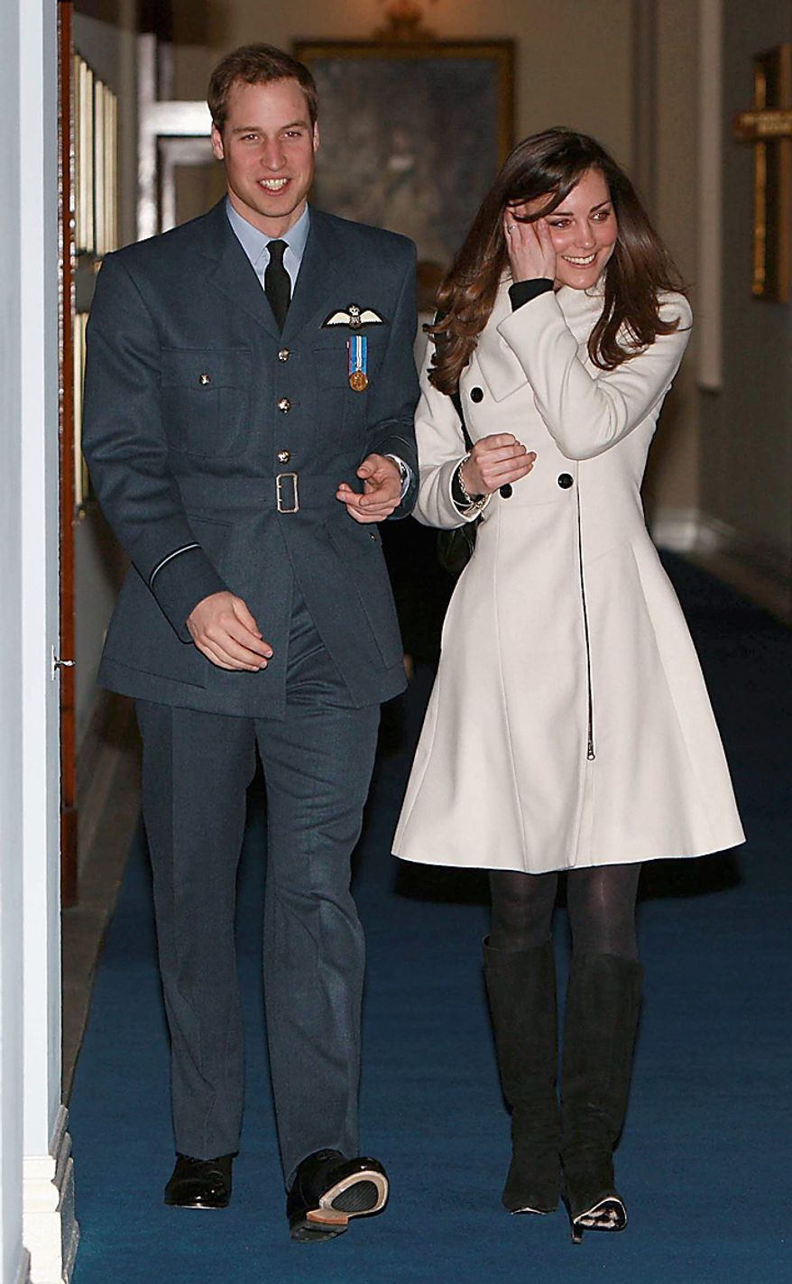 In this Friday April 11, 2008. file photo, Britain's Prince William and his girlfriend Kate Middleton walk together at RAF Cranwell, England, after William received his RAF wings from his father the Prince of Wales. According to an announcement by Clarence House in London, Tuesday Nov. 16, 2010,  the couple are to wed in 2011, Further details about the wedding day will be announced in due course.(AP Photo/Michael Dunlea, pool, file)