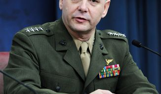 Joint Chiefs Vice Chairman Gen. James Cartwright outlines the Defense Department's fiscal year 2010 budget request during a news conference at the Pentagon in Arlington, Virginia, on April 6, 2009. (UPI Photo/Roger L. Wollenberg)