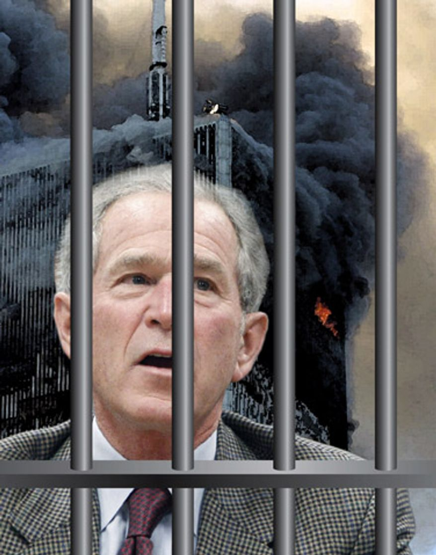 Illustration: Blaming Bush by Greg Groesch for The Washington Times