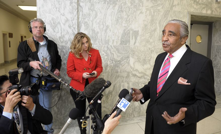 Rep. Charles Rangel, New York Democrat, speaks on Capitol Hill in Washington, Tuesday, Nov. 16, 2010. Mr. Rangel was convicted earlier Tuesday on 11 counts of breaking ethics rules and now faces punishment. (AP Photo/Cliff Owen)