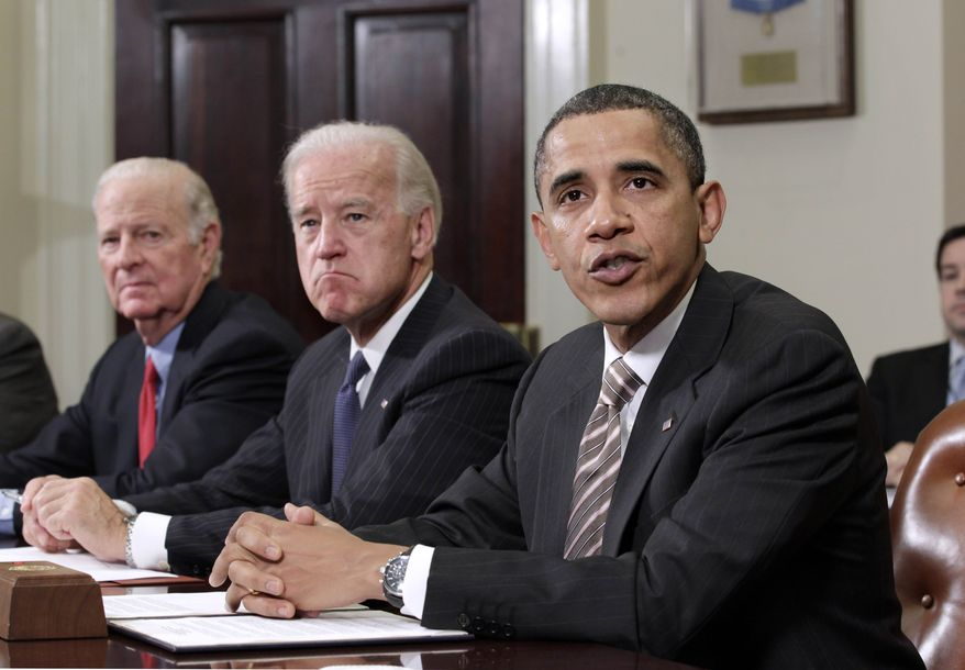 President Obama speaks in the Roosevelt Room at the White House in Washington, Thursday, Nov. 18, 2010, where he dropped by a meeting on the the New START pact (Strategic Arms Reduction Treaty). From left are, former Secretary of State James A. Baker III, Vice President Joseph R. Biden Jr. and Mr. Obama. (AP Photo/J. Scott Applewhite)