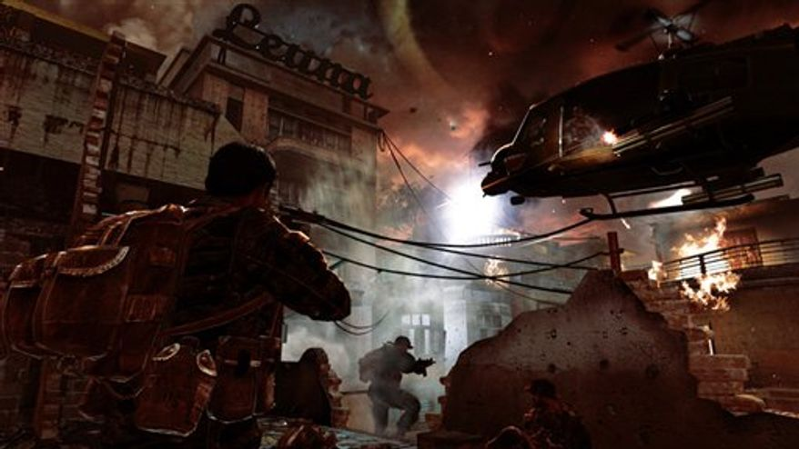 "In this video game image released by Activision, special forces agents pilot a gunship up the Mekong River in a scene from,""Call of Duty: Black Ops."" (AP Photo/Activision)"