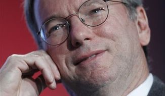 Google CEO Eric Schmidt speaks at the Web 2.0 Summit in San Francisco, Monday, Nov. 15, 2010. (AP Photo/Paul Sakuma)