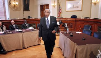 Rep. Charles Rangel, New York Democrat, speaks before the House Ethics Committee, on Capitol Hill in Washington, Thursday, Nov. 18, 2010. (AP Photo/Harry Hamburg)