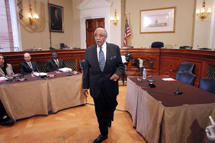 Rep. Charles Rangel, New York Democrat, speaks before the House Ethics Committee, on Capitol Hill in Washington, Thursday, Nov. 18, 2010. (AP Photo/Harry Hamburg)