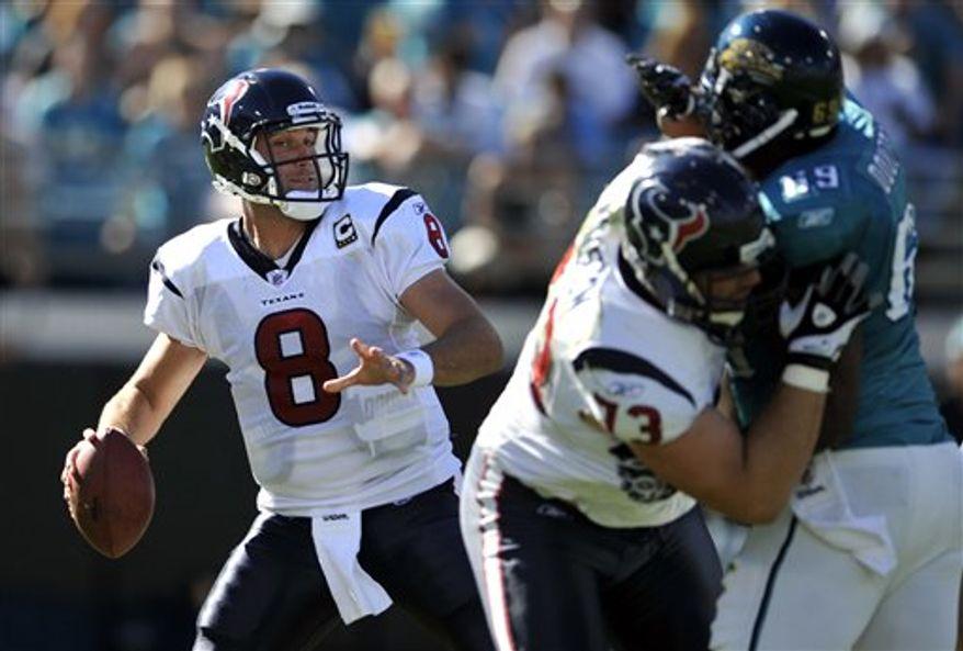 Houston Texans quarterback Matt Schaub (8) looks to pass during an NFL football game against the Jacksonville Jaguars in, Sunday, Nov. 14, 2010, Jacksonville, Fla. Jacksonville beat Houston 31-24. (AP Photo/Stephen Morton)
