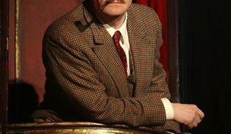 """This 2008 file photo provided by Boneau/Bryan-Brown shows original cast member Charles Edwards in a scene from """"The 39 Steps."""" The play will end it's off-Broadway run Jan. 16, 2011. It originally made its debut on Broadway in January 2008 at the American Airlines Theatre, then moved to the Court Theatre, and then finally to the Helen Hayes Theatre for a total of 771 performances.  (AP Photo/Boneau/Bryan-Brown, Joan Marcus)"""