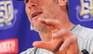 Minnesota Vikings quarterback Brett Favre  addresses the media during a news conference at the team's NFL football training facility in Eden Prairie, Minn. Wednesday, Nov. 17, 2010.(AP Photo/Andy King)