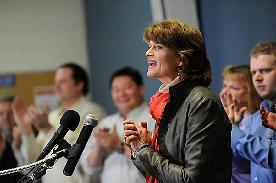 U.S. Sen. Lisa Murkowski declares victory in the Alaska Senate race, exactly two months after announcing her long-shot write-in campaign, Wednesday, Nov. 17, 2010 in Anchorage, Alaska  (AP Photo/Michael Dinneen)