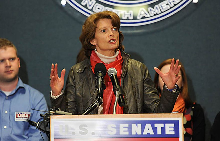 United States Sen. Lisa Murkowski (R-Alaska), center, addresses a joyous crowd as her victorious write-in campaign is announced in Anchorage, Alaska  Wednesday, Nov. 17, 2010.  Murkowski is the first Senate candidate in more than 50 years to win a write-in campaign.  (AP Photo/Michael Dinneen)
