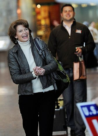 U.S. Senator Lisa Murkowski  (R) Alaska, smiles at supporters upon her arrival at Ted Stevens International Airport in Anchorage Wednesday, Nov. 17, 2010.  Murkowski became the first Senate candidate in more than 50 years to win a write-in campaign.   The victory is a remarkable comeback for Murkowski, who lost to political newcomer Joe Miller in the GOP primary, and a humbling moment for Sara Palin, the former Alaska governor, 2008 GOP vice presidential candidate and Murkowski nemesis whose support was not enough to get Miller through an election in her own backyard.  (AP Photo/Michael Dinneen)