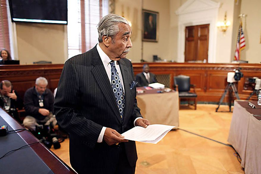 Rep. Charles Rangel, D-N.Y. appears before the House Ethics Committee, on Capitol Hill in Washington, Thursday, Nov. 18, 2010. (AP Photo/Harry Hamburg)