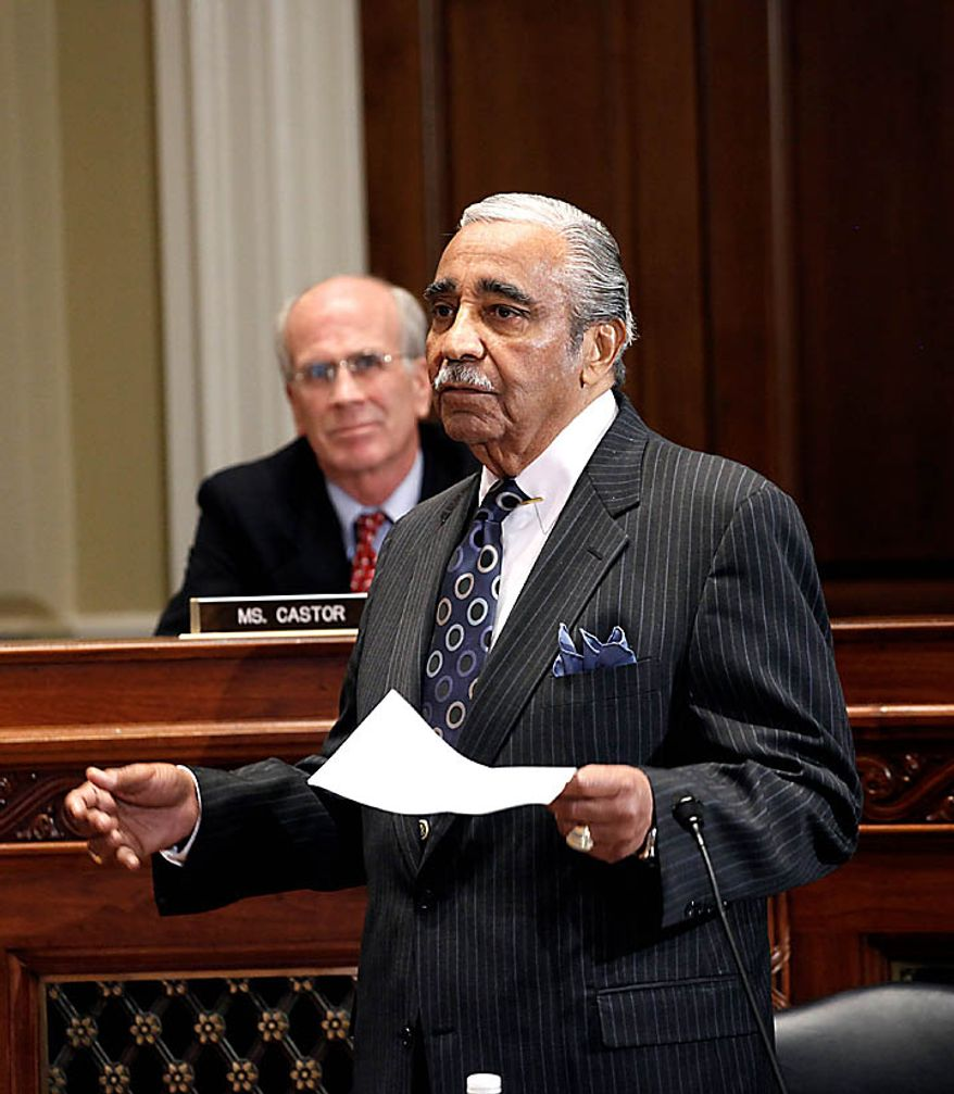 Rep. Charles Rangel, D-N.Y. appears before the House Ethics Committee,  on Capitol Hill in Washington, Thursday, Nov. 18, 2010. Rep. Peter Welch, D-Vt. is at left. (AP Photo/Harry Hamburg)
