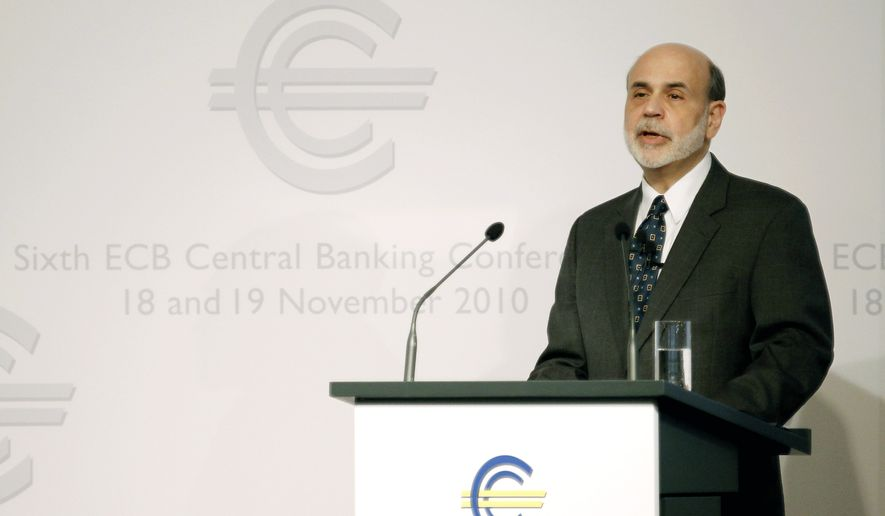 Federal Reserve Chairman Ben Bernanke delivers his keynote speech at the sixth European Central Bank Central Banking conference in Frankfurt, Friday Nov. 19, 2010. (AP Photo/Kai Pfaffenbach,Pool)
